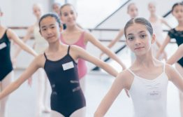 Large group of girls in ballet class