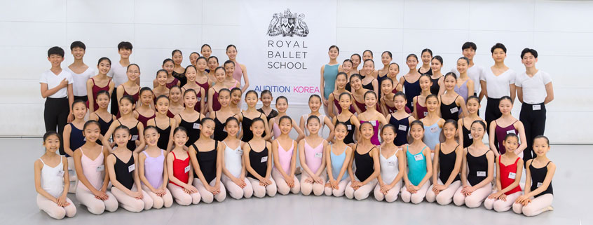 Large group of auditioning students at the Winter Intensive in Korea, 2019