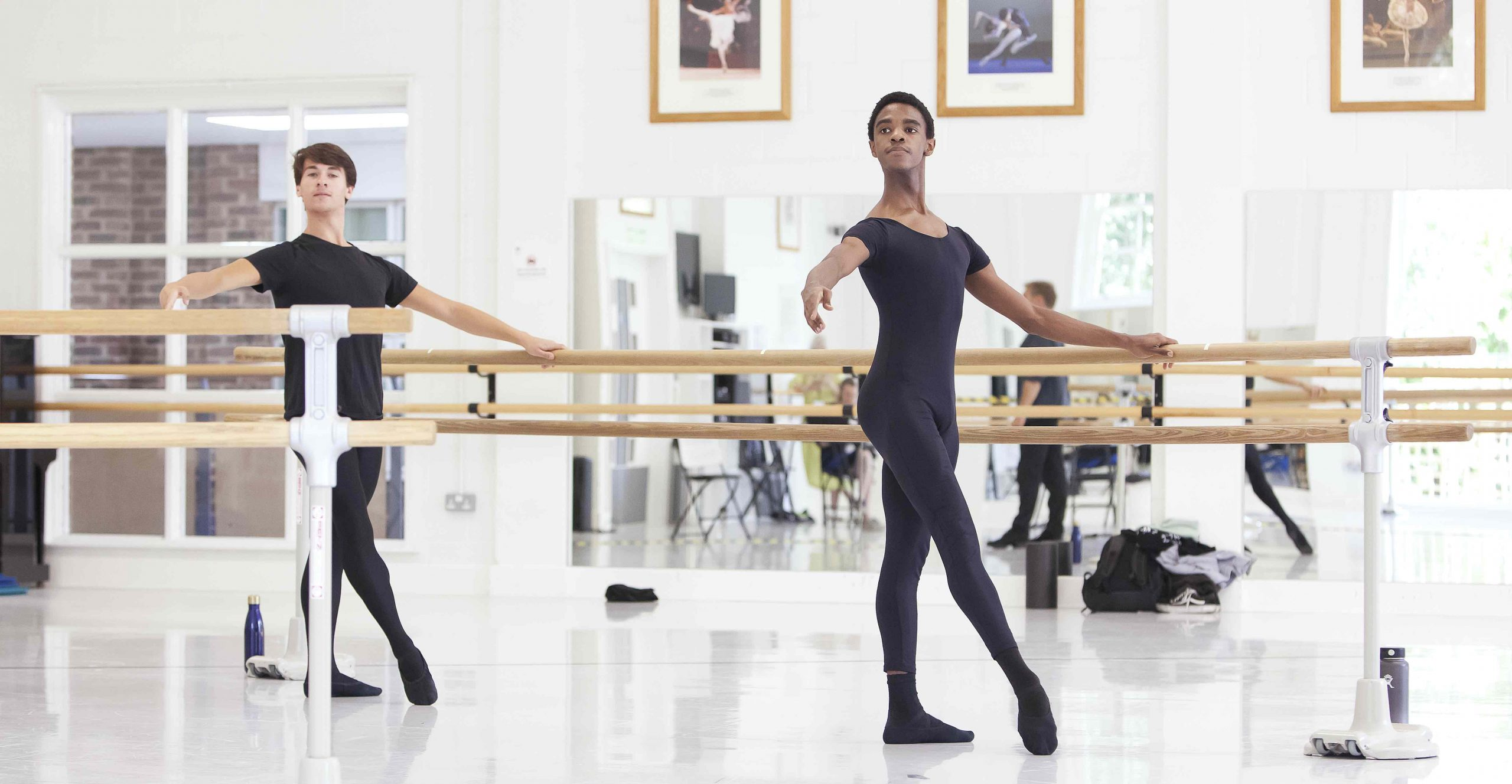 Men at the barre at the online summer intensive