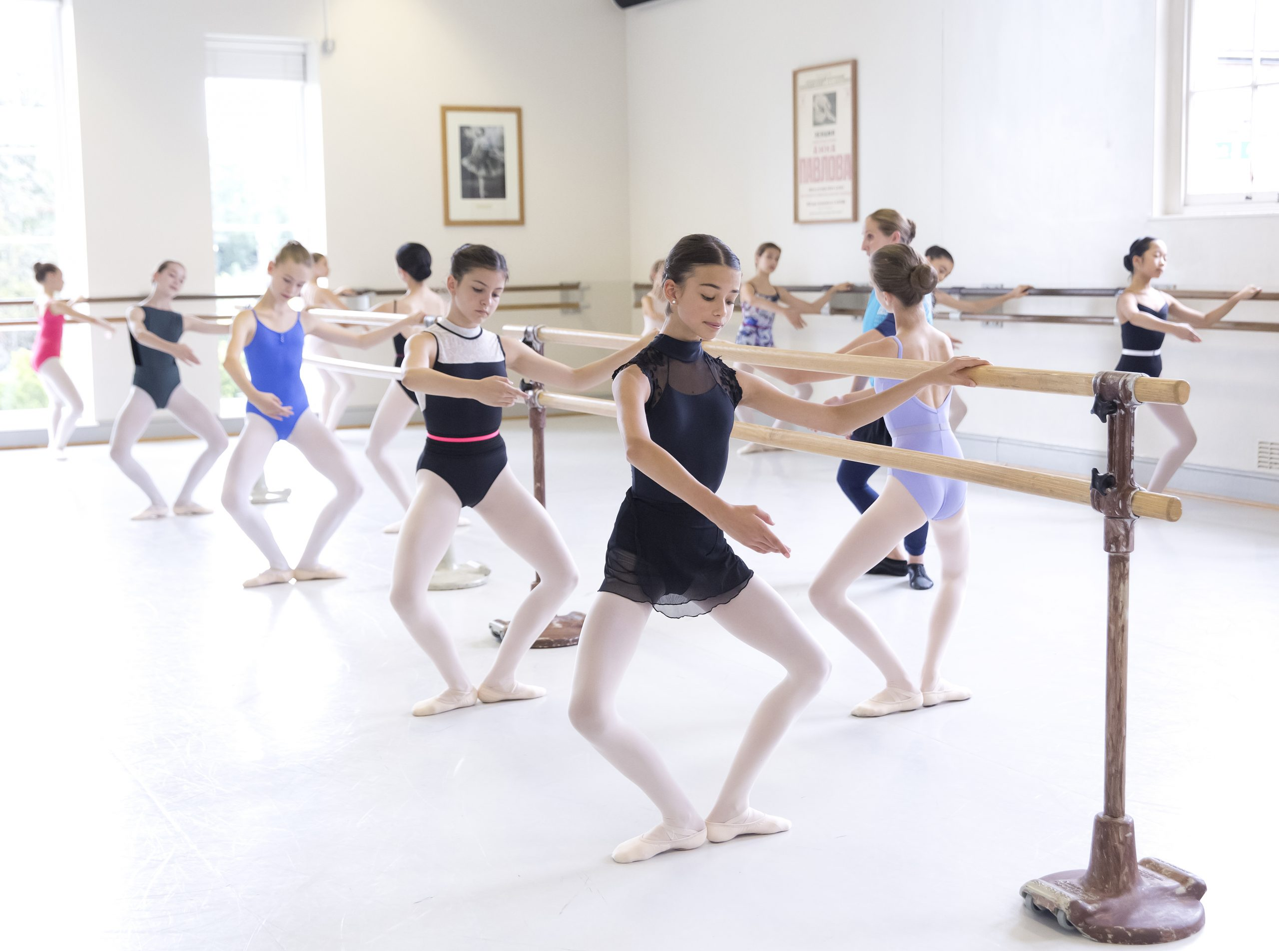 Girls at barre in White Lodge studio