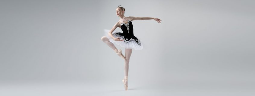 International Scholar Chelsea Potter in a tutu at a photo shoot